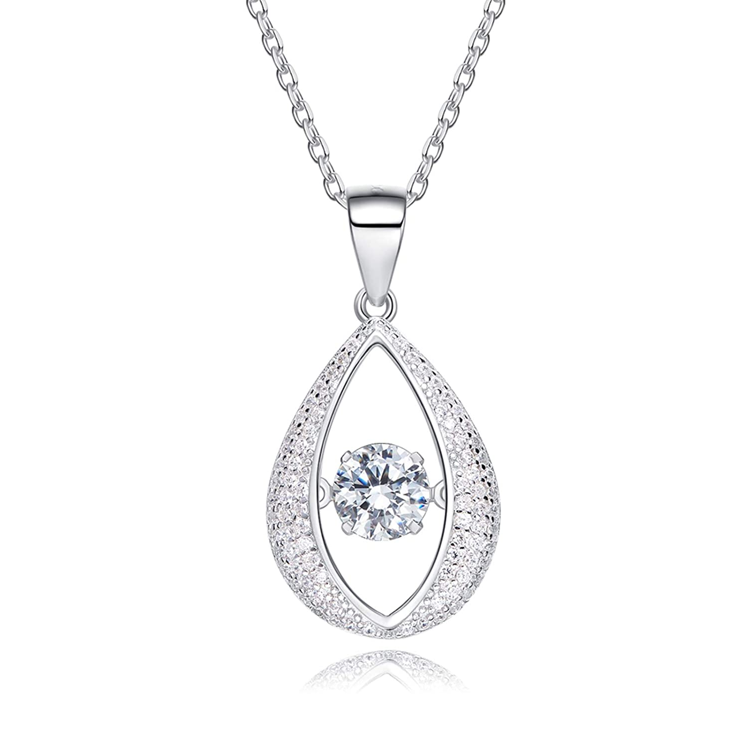 Aienid Silver Necklaces for Women 925 Element Crystal Teardrop Pendant Necklace Silver