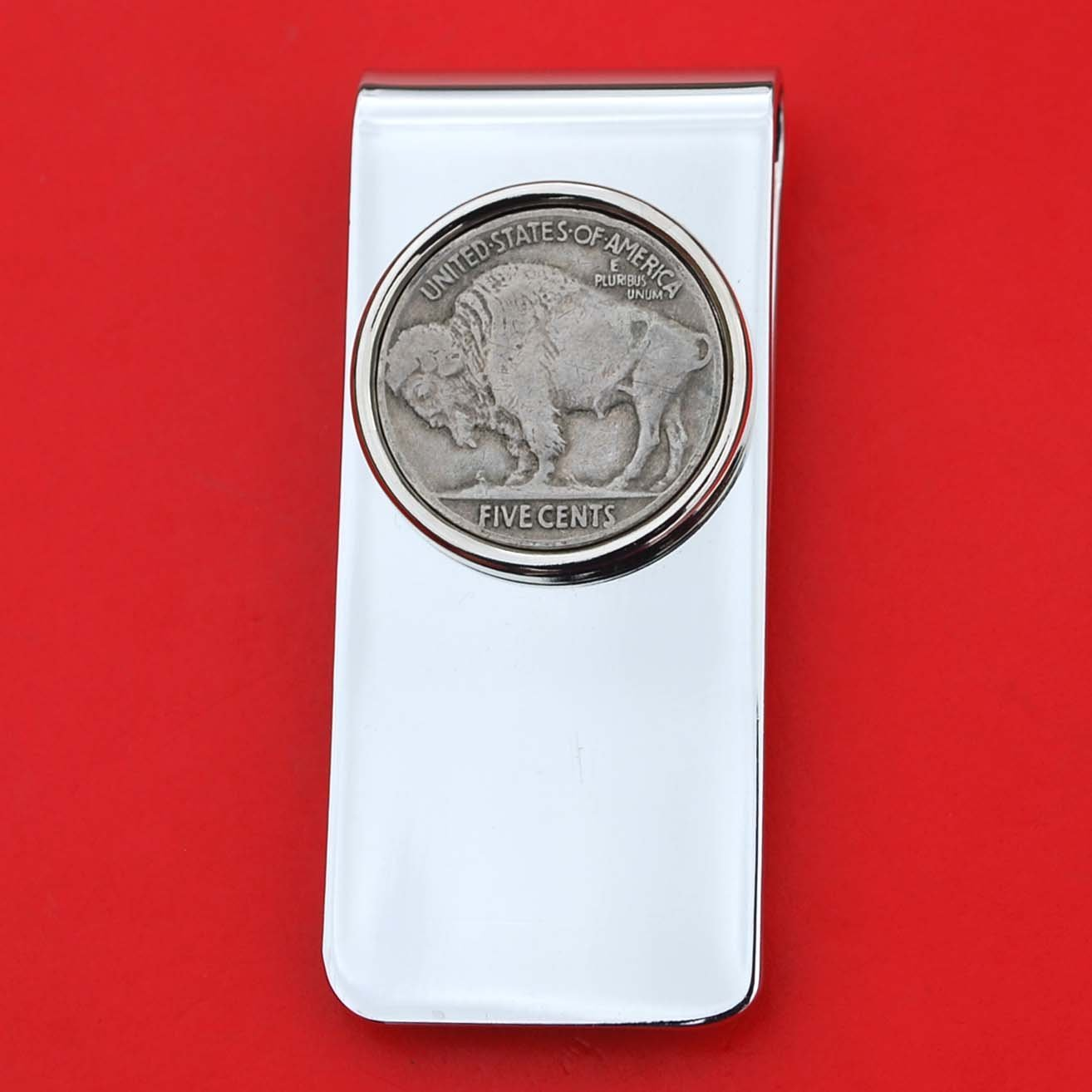 US 1913 ~ 1938 Indian Head Buffalo Nickel 5 Cent Coin Solid Brass Silver Plated Money Clip New - High Quality