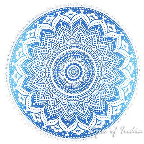 Eyes of India - 32'' Blue White Floor Meditation Pillow Cushion Seating Throw Cover Hippie Mandala Round Colorful Decorative Bohemian Indian Boho Dog bedCover Only by Eyes of India (Image #3)