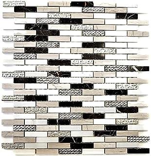 Mosaique Carrelage Pierre Marbre Brick Design Mix Dore Noir Blanc