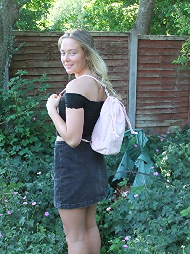 Suede Backpack Faux Drawstring Black Handbag LONI wzfPqP