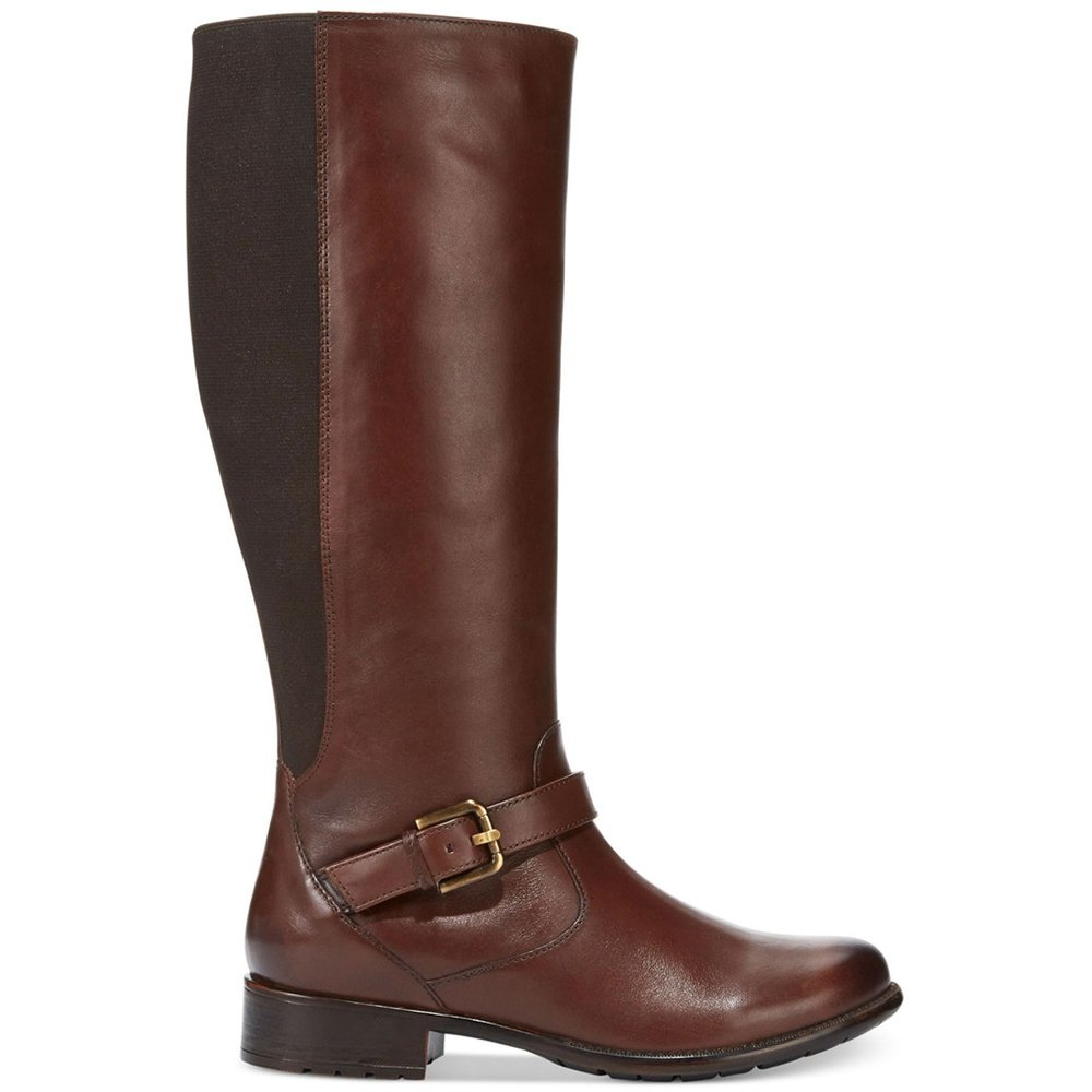 CLARKS Women's Plaza Pilot Comfort Knee High Boot, Brown Leather, Size 6.0