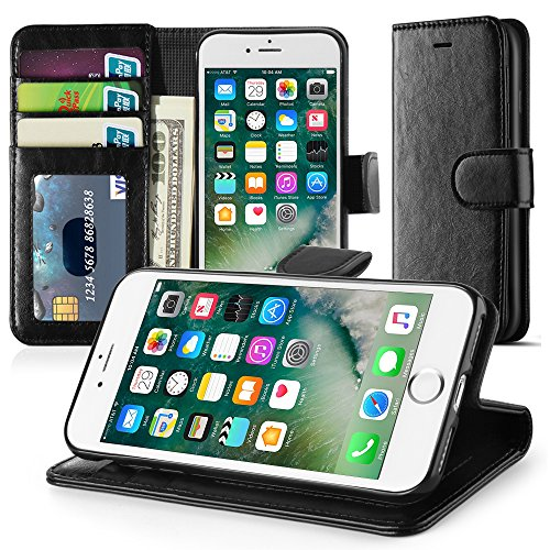 TNP iPhone 7 Plus Wallet Phone Case - Synthetic Leather Folio Flip Cover with Magnetic Snap Closure, Hard Back, ID Credit Card Slot and Cash Compartment Money Pocket for Apple iPhone 7 Plus 5.5' Black