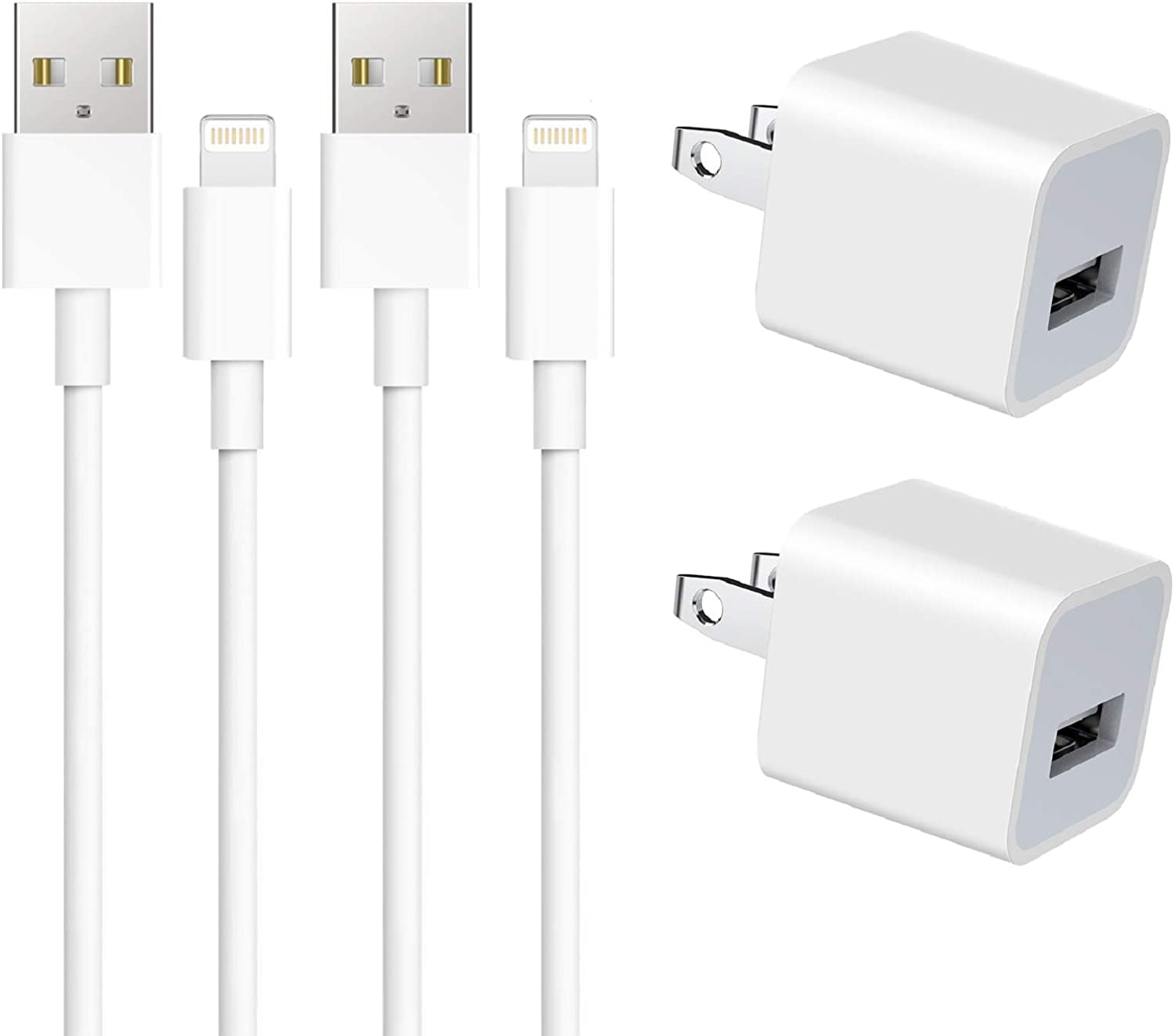 USB Wall Charger, 2 Pack Wall Charger Adapter Block with 2 Pack 3FT Charger Cable Cord Compatible iPhone 12/11/Xs/Xs Max/XR/X /8/7/6/6S Plus SE/5S/5C, iPad and More