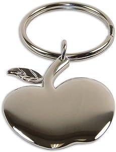 Beautiful Silver-Toned Apple Charm Keychain, Apple Silver Charm, Backpack Keychain, Best Keychain Apple Shape Charm Gift, Apple Logo, Souvenir Keychain.