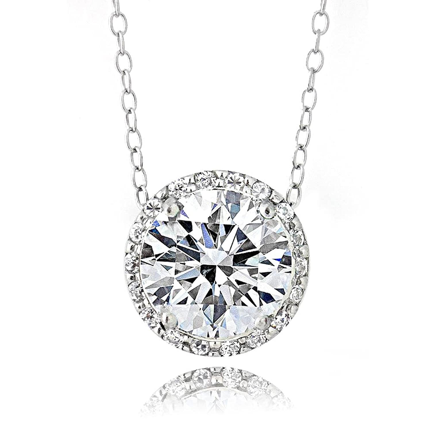 Platinum Flashed Silver over Sterling Silver 100 Facets Cubic Zirconia Halo Necklace (2cttw)