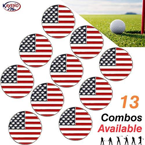 (kaveno Golf Ball Marker Series, Assorted Design, Pack of 5/10/20 (USA Flag - 10PCS))
