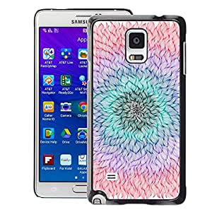 Planetar® ( Flower Petal Teal Purple Peach Summer ) Samsung Galaxy Note 4 IV / SM-N910 Fundas Cover Cubre Hard Case Cover