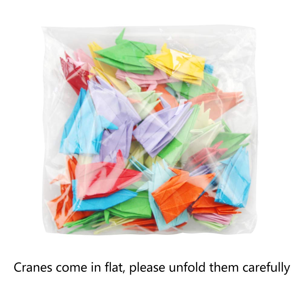 Folded DIY Japanese Crane Mobile String Garland for Wedding Party Backdrop Home Decoration Hangnuo 100 PCS Origami Paper Cranes White