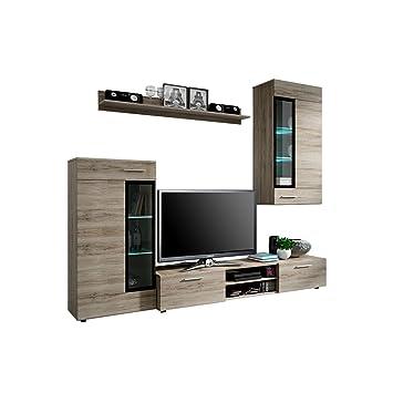 Wohnwand Twist Design Modernes Wohnzimmer Set Anbauwand Schrankwand Vitrine Tv Lowboard Mediawand Ohne Beleuchtung San Remo Dunkel