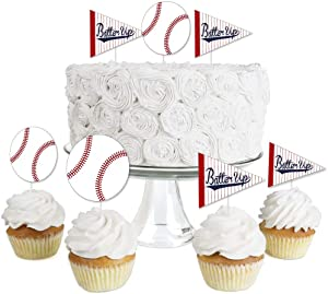 Batter Up - Baseball - Dessert Cupcake Toppers - Baby Shower or Birthday Party Clear Treat Picks - Set of 24