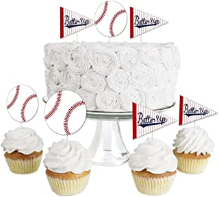 product image for Batter Up - Baseball - Dessert Cupcake Toppers - Baby Shower or Birthday Party Clear Treat Picks - Set of 24