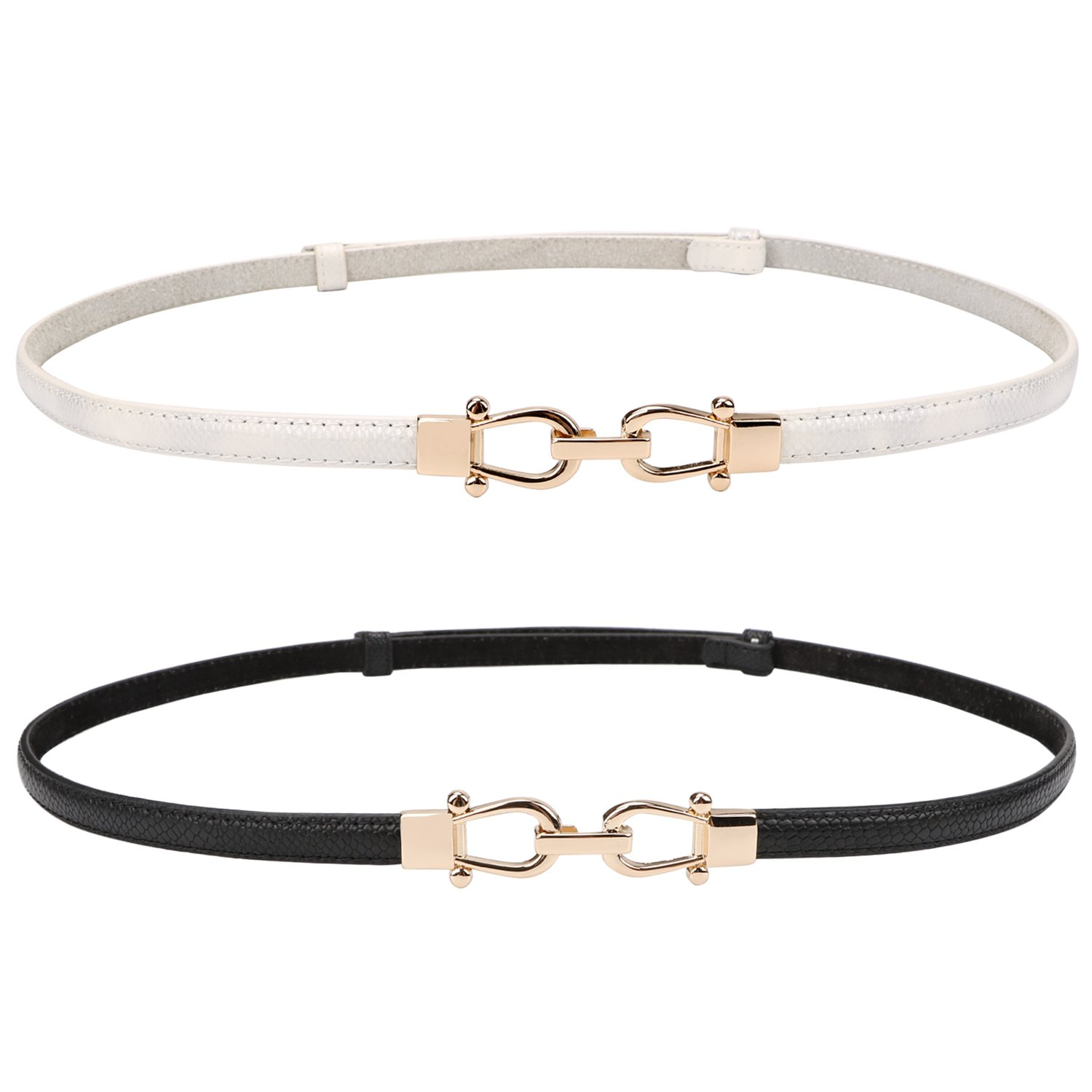 Genuine Leather Skinny Belt for Women Thin Waist Belts for Dresses Up to 33''with Interlocking Buckle 2 Pack