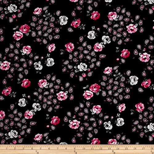 Santee Print Works Botanical Garden Floral Black Pink Fabric by the Yard