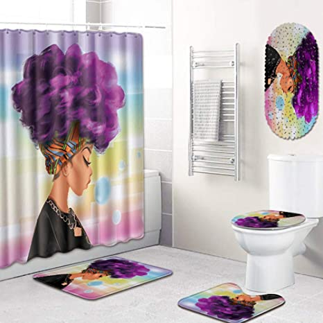 African Women Waterproof Shower Curtain Anti-slip Rug Lid Toilet Cover Bath Mat