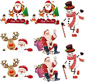 Kiddale Christmas Switch Stickers Santa Claus and Snowman Christmas Removable Light Switch Stickers Bedroom Wall Decal for Christmas Decoration Home Decor Room Decor(8pcs)