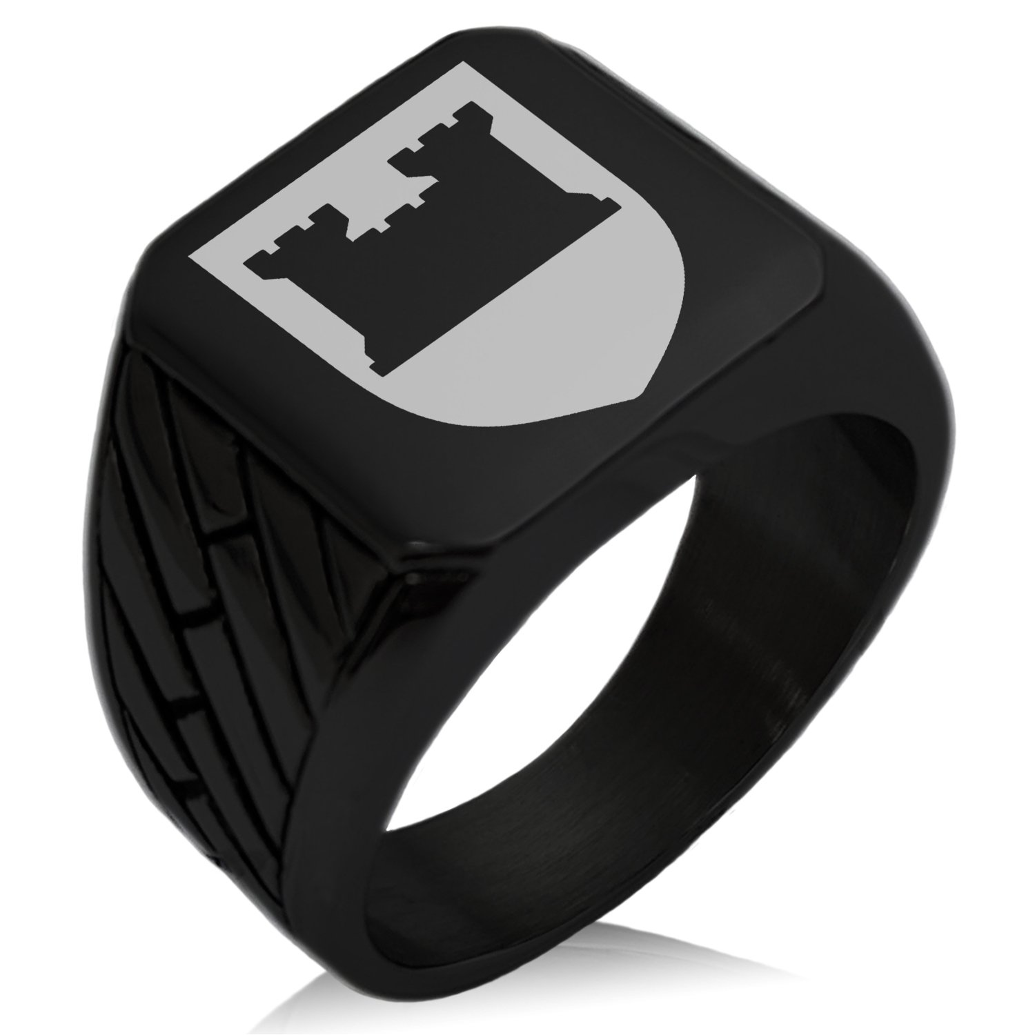 Tioneer Black IP Plated Stainless Steel Castle Protection Coat of Arms Shield Engraved Geometric Pattern Biker Style Polished Ring, Size 8