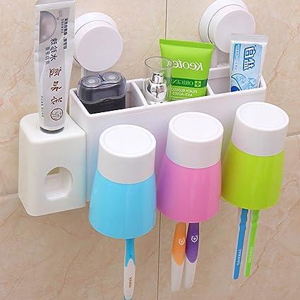 ShouYu Portacepillos de dientes,dispensador de pasta dientes,antipolvo Antibacteriano Decoracion de Bano(