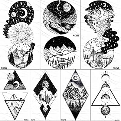 yyyDL Galaxy Geometric Peak Star tatuajes temporales para niños ...