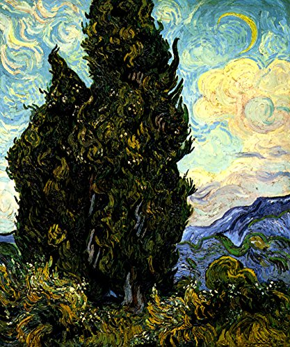 CYPRESSES PLANT SUMMER LANDSCAPE IMPRESSIONIST PAINTING BY VINCENT VAN GOGH ON CANVAS -