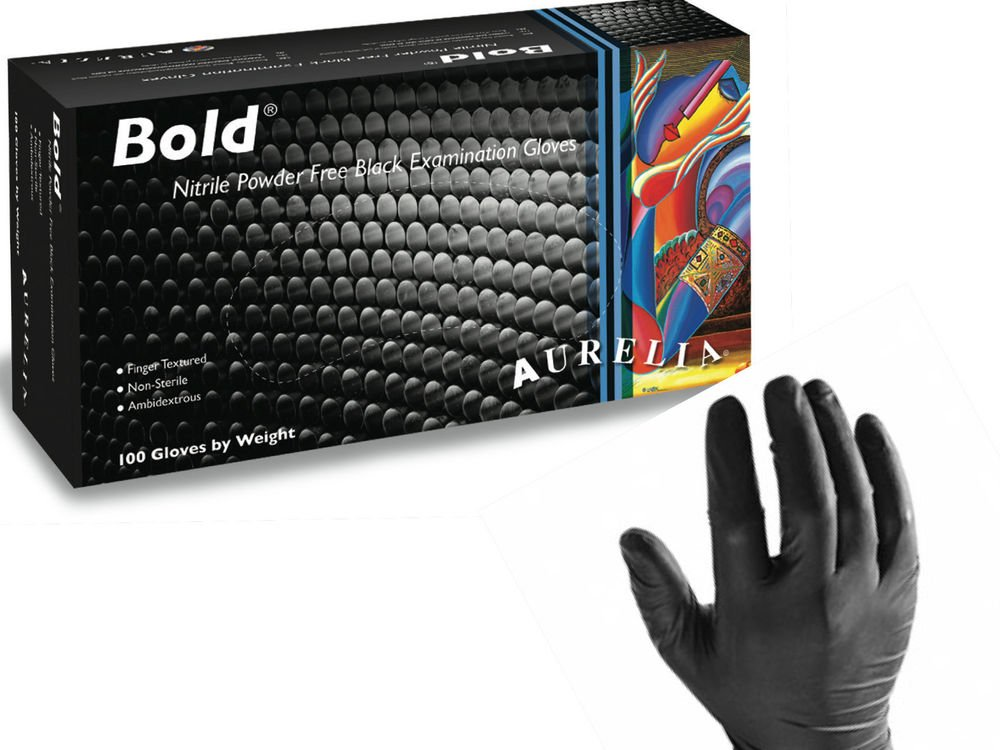 100 x Aurelia Bold Black Nitrile Powder Free Gloves Size MEDIUM - Heavy Duty Disposable Gloves