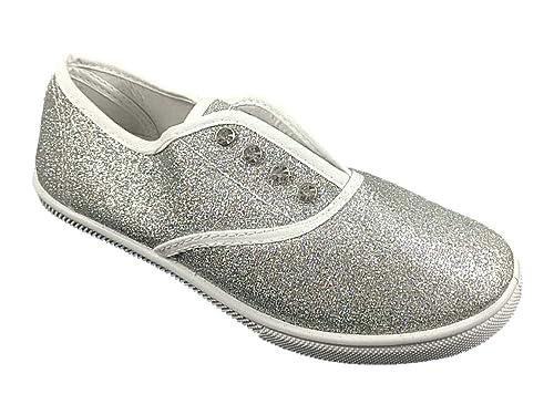 7a669cfab717 Amazon.com | Cammie Womens Slip On Sneaker Silver Glitter Size 5 ...