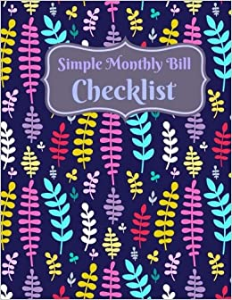 simple monthly bill checklist extra larege 8 x 11 simple bill