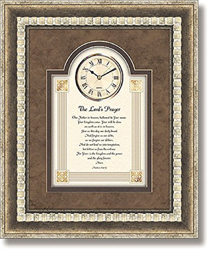 The Lord's Prayer - Matthew 6:9-13 - Framed Wall Clock, 15'' W x 18'' H. by AT001
