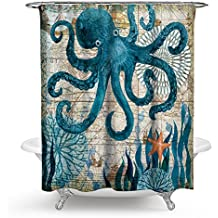 Ecomic Octopus Ocean Animal Landscape Shower Curtains Waterproof Polyester Blackout Draperies Window Solid Grommet with 12 Hooks for Bedroom Livingroom Bathroom,71 x 71 (12)