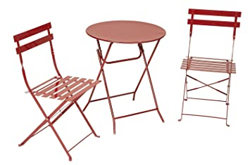 Cosco 3 Piece Folding Bistro Style Patio Table And Chairs Set, Red
