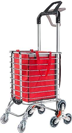 ZGYQGOO Carro de Compras Carros de Utilidad portátiles Carro Plegable Escalera de Peso Ligero Carro de Escalada Capacidad de 110 Libras: Amazon.es: Hogar