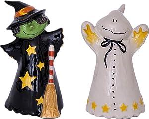Blue Sky Ceramic Witch Ghost Salt & Pepper Set, Multicolor
