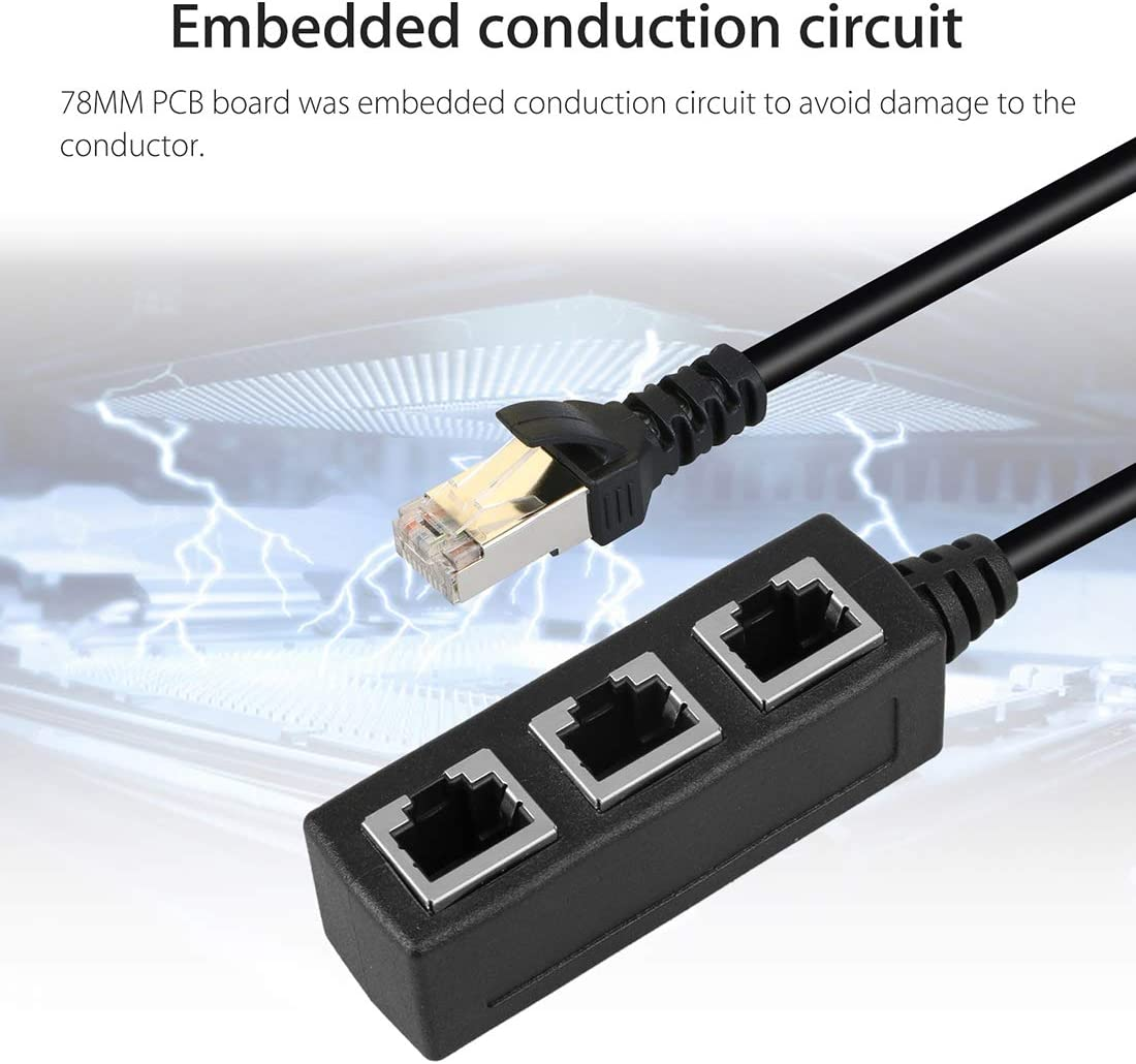 JINYANG 1 to 3 Socket LAN Ethernet Network RJ45 Plug Splitter Extender