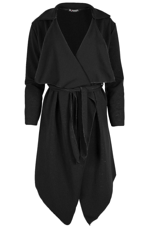 Damen Italienische Blazer Mantel Strickjacke 3/4 Ärmel Krawattenknoten Mit Gürtel Kittel Überdimensional Wickel-jacke Wasserfall Trenchcoat