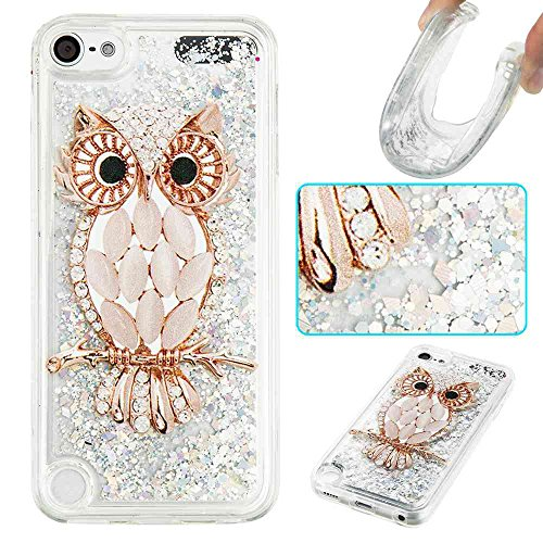 STENES iPod Touch 6 Case, 3D Creative Luxury Series Bling Glitter Sparkle Liquid Case Infused Glitter Stars Moving Quicksand Soft Case for iPod Touch 5/6 - Night Owl
