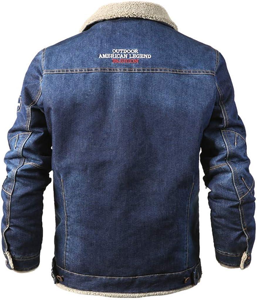 GDJGTA Jacket for Mens Casual Autumn Winter Long Sleeve Plush Denim Jacket