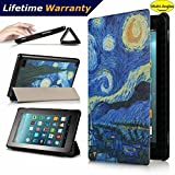 DHZ Folio Case for Amazon Fire HD 8 Tablet(2017 and 2016 Release,7th/ 6th Generation) - Ultra Lightweight Smart Cover Slim Tri-fold Stand Leather Case with Auto Wake / Sleep,Starry Night