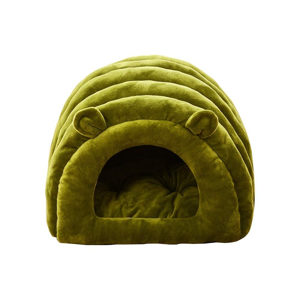 GREEN 45cm35cm27cm GREEN 45cm35cm27cm LEYOUDIAN Chongwuwo Cat litter four seasons universal cat nest closed kennel thick cat litter winter warm (color   GREEN, Size   45cm35cm27cm)