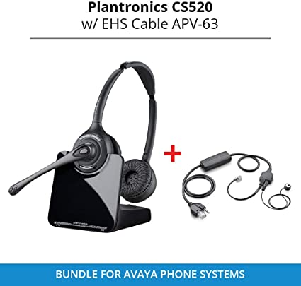 Amazon Com Plantronics Cs520 Binaural Wireless Headset System With Ehs Cable Apv 63 Bundle For Avaya Phone Systems Home Audio Theater