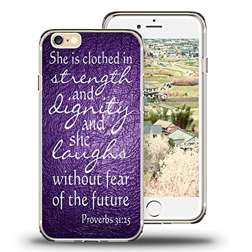 (iPhone 6s Case, iPhone 6 Case Viwell TPU Soft Case Rubber Silicone Quotes Proverbs 31:25 purple)