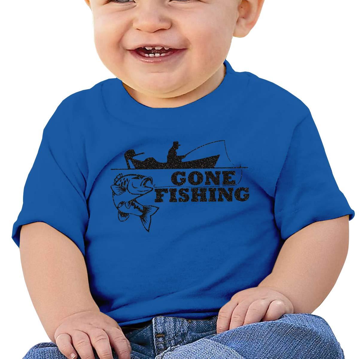 XHX403 Gone Fishing Infant Kids T Shirt Cotton Tee Toddler Baby 6-18M