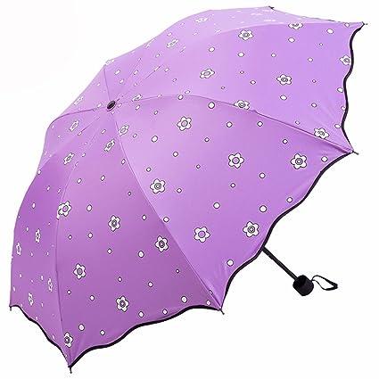 SSBY Sombrilla Agua Decoloración Coreano Paraguas Plegable Paraguas Negro Belleza Pegamento Pequeño Paraguas Paraguas De Solun