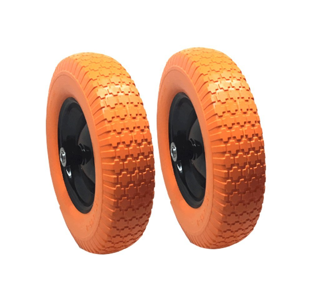 UI PRO TOOLS 2 Set - 16'' Flat Free Tires Wheels with 5/8'' Center - Solid Tire Wheel for Dolly Hand Truck Cart/All Purpose Utility Tire on Wheel