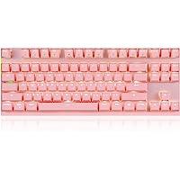 MOTOSPEED Professional Gaming Mechanical Keyboard RGB Rainbow Backlit 87 Keys Illuminated Computer USB Gaming Keyboard for Mac & PC Black Pink Keyboard Red Switch(wireless)