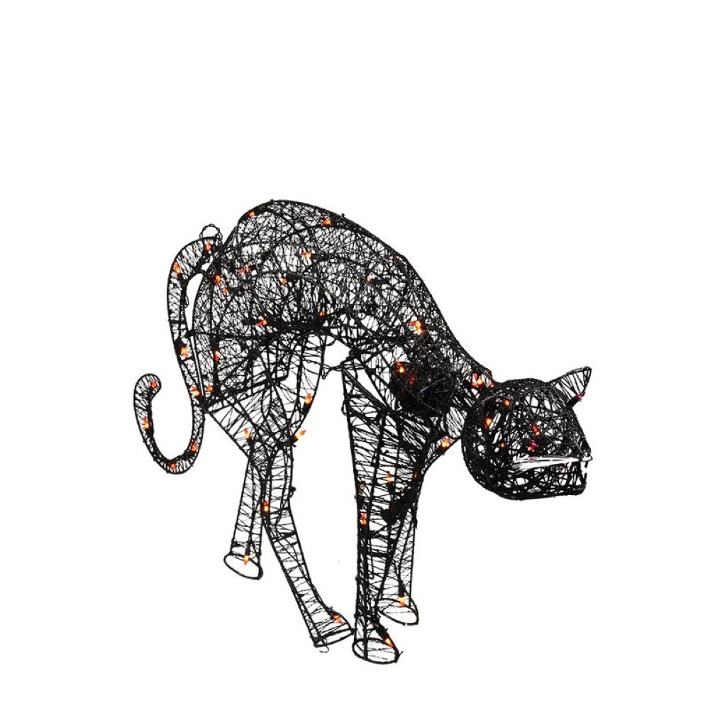 Lighted Spooky Cat Halloween Decoration, Outdoor Halloween Decorations