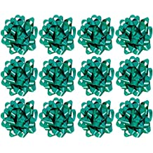 The Gift Wrap Company Decorative Confetti Gift Bows, Medium, Green, pack of 12