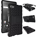 Heartly Flip Kick Stand Spider Hard Dual Rugged Armor Hybrid Bumper Back Case Cover For Sony Xperia Z5 Compact - Rugged Black