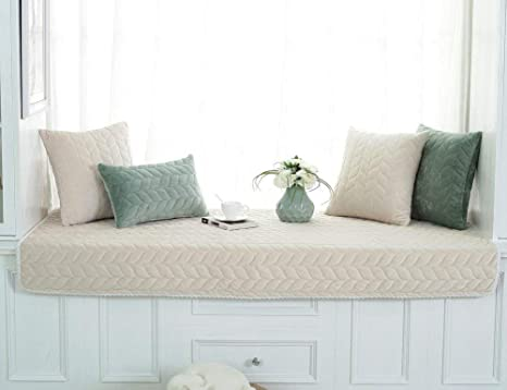 PETCUTE Fundas Sofa Chaise Longue Cubre Sofa Acolchado Fundas para Sofa sin Brazos Antideslizante Blanco Crema 90X120cm