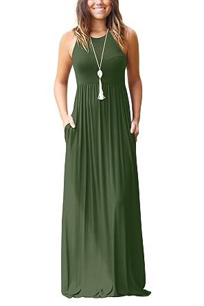 0d172584c75b4a Bequemer Laden Damen Sommerkleid Ärmellos Rundkragen Sommerkleid Lange  MaxiKleid Übergröße mit Seitentasche Armeegrün-S