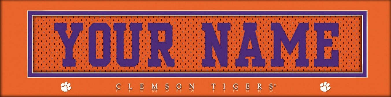 Personalized Gift Clemson Tigers College Jersey Nameplate Wall Print Boys Room Decor 6x22 Unframed Poster